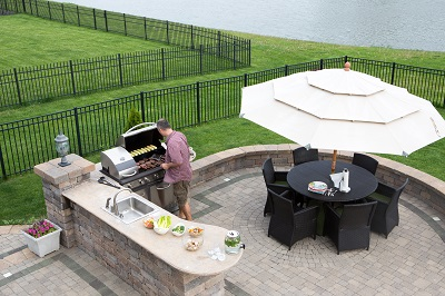 outdoor kitchen contractors designed and built this backyard kitchen on the Milwaukee lakeshore