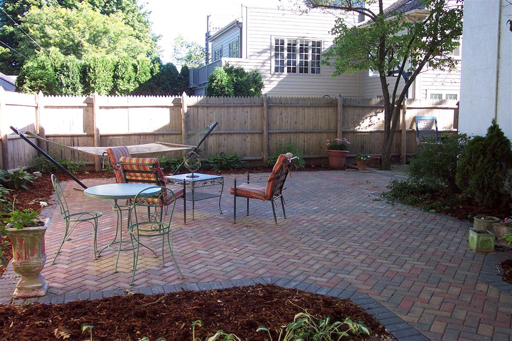 Milwaukee brick patio installation, backyard designs, and outdoor living space