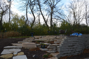 Pewaukee stone stairs and retaining wall from Loomis Landscaping hardscaping experts