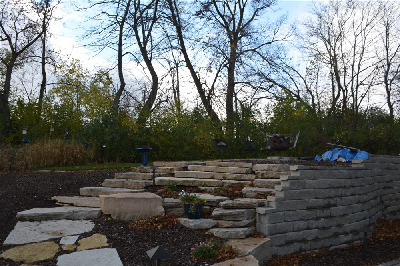 Stone retaining wall with stairs in New Berlin Wisconsin