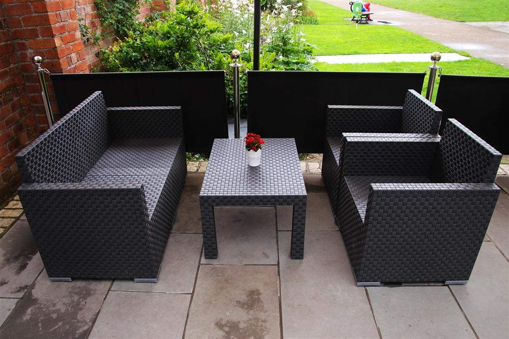 small outdoor patio with chairs